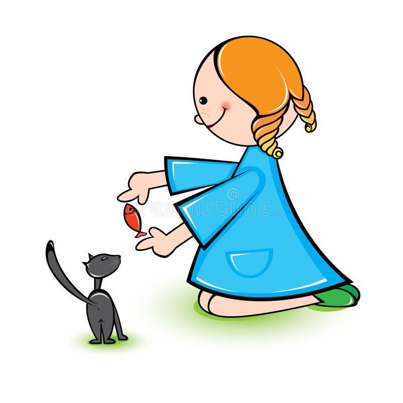 Ragazza con il gatto royalty illustrazione gratis