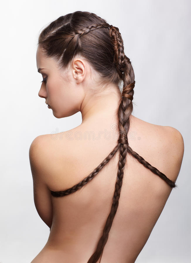 Ragazza con il hair-do creativo immagini stock libere da diritti