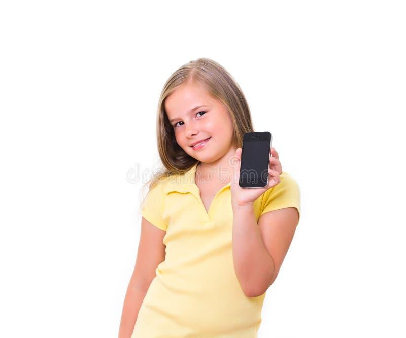 Ragazza con il iPhone. immagine stock libera da diritti
