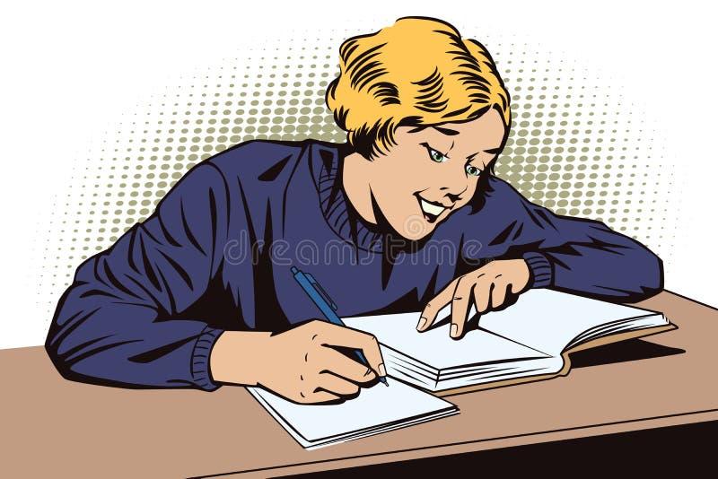 Ragazza con il libro Scolara nell'aula illustrazione vettoriale