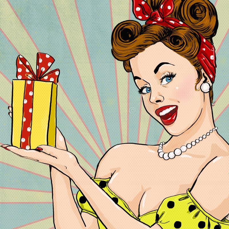 Ragazza con il regalo nello stile d'annata Pin sulla ragazza Invito del partito Cartolina d'auguri di compleanno illustrazione vettoriale
