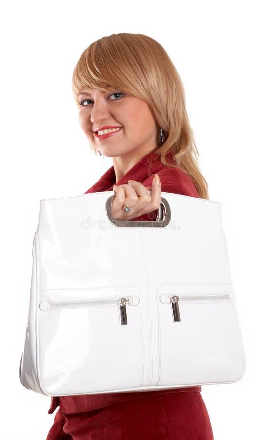 Ragazza con il sacchetto fotografia stock libera da diritti