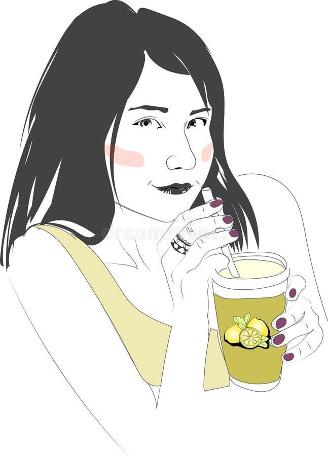 Ragazza con il succo di limone fotografia stock