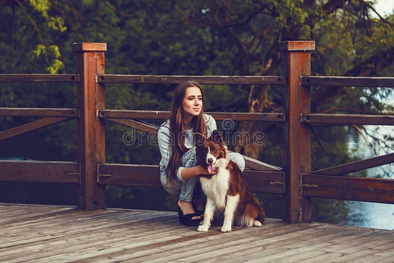 Ragazza con il suo cane border collie fotografia stock
