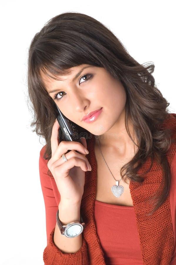Ragazza con il telefono mobile fotografia stock