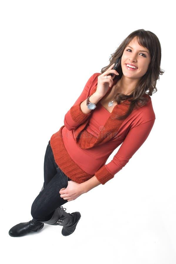 Download Ragazza Con Il Telefono Mobile Immagine Stock - Immagine di capelli, attraente: 3888791