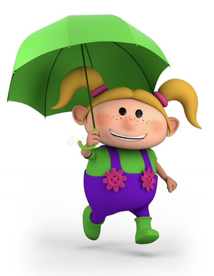 Ragazza con l'ombrello illustrazione di stock