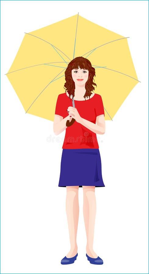 Ragazza con l'ombrello giallo royalty illustrazione gratis