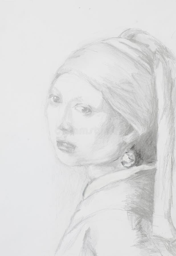 Ragazza con l'orecchino della perla, disegno a matita royalty illustrazione gratis