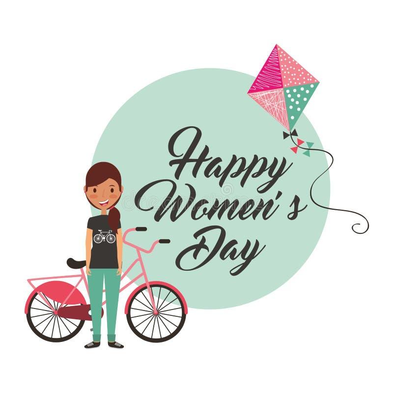 Ragazza con la carta del giorno delle donne felici dell'aquilone e della bici royalty illustrazione gratis