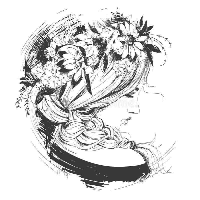 Ragazza con la corona floreale sulla sua testa royalty illustrazione gratis