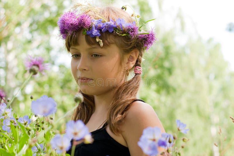 Ragazza con la corona o la parte superiore del fiore sul prato fotografia stock libera da diritti