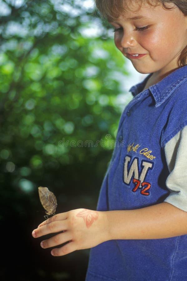 Ragazza con la farfalla, Coconut Creek, FL fotografie stock libere da diritti