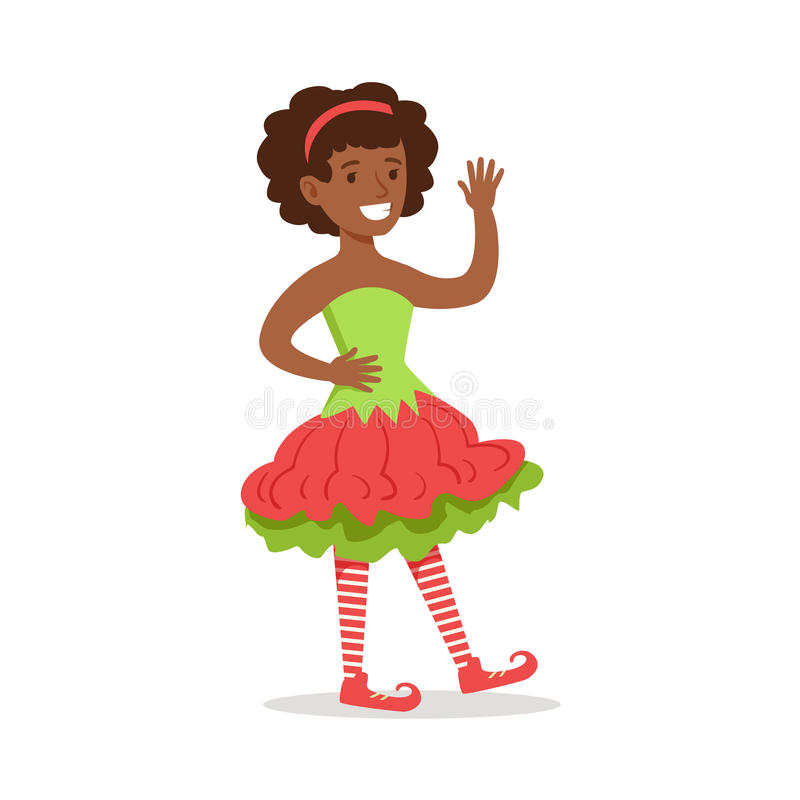 Ragazza con la pettinatura di afro vestita come partito di carnevale di festa del costume di Santa Claus Christmas Elf For The royalty illustrazione gratis