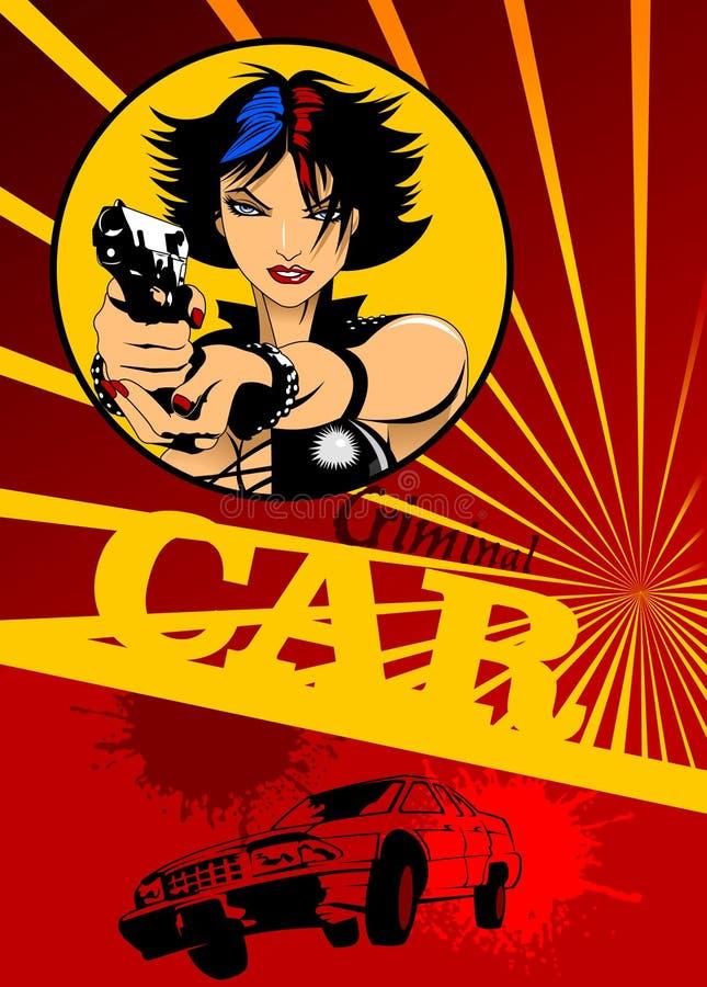 Ragazza con la pistola e l'automobile nere illustrazione di stock