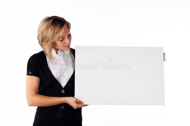 Ragazza con la scheda fotografia stock libera da diritti