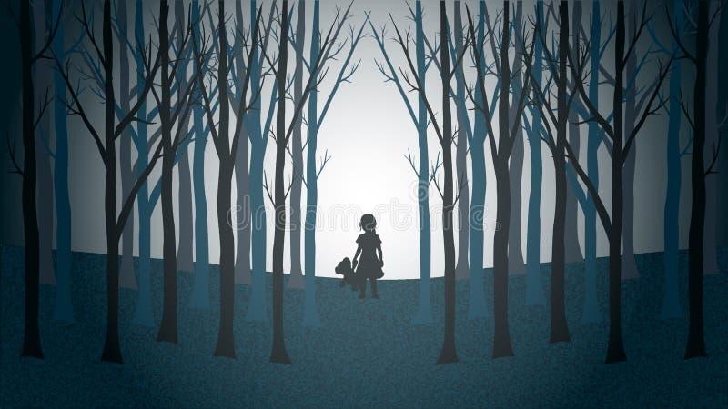 Ragazza con la sua camminata dell'orsacchiotto persa attraverso una foresta terrificante illustrazione vettoriale