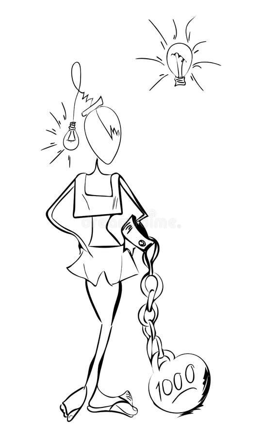 Ragazza con la testa d'ardore della lampadina che ha idea immagine stock