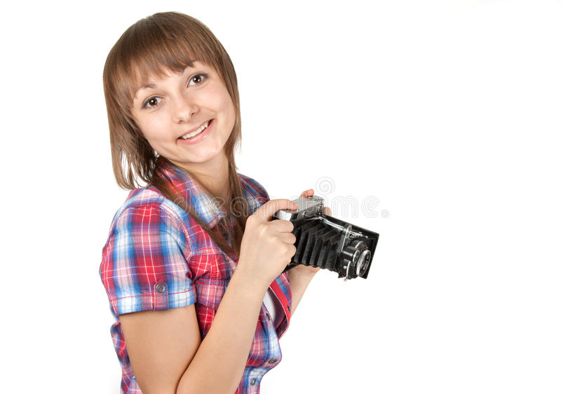 Ragazza con la vecchia foto analog dalla macchina fotografica fotografie stock libere da diritti