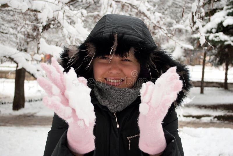 Ragazza con neve immagini stock