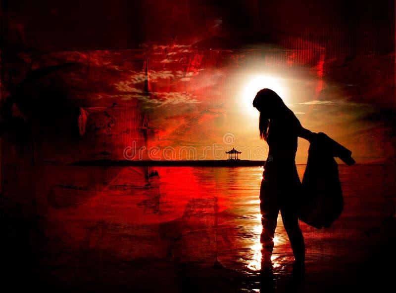 Ragazza con Sun in capelli su colore rosso immagine stock