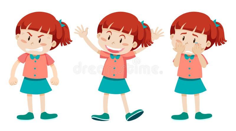 Ragazza con tre emozioni differenti illustrazione vettoriale