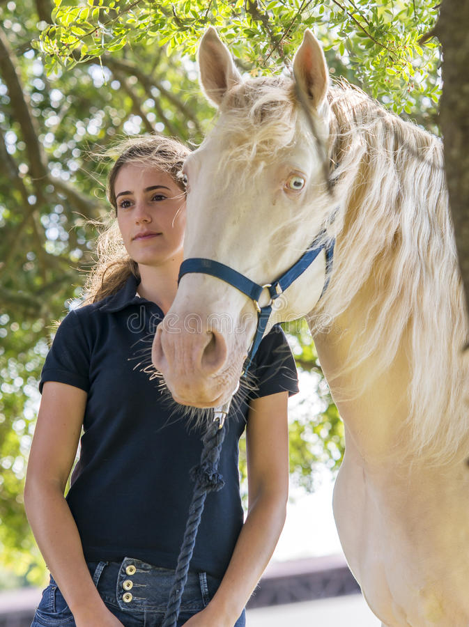 Ragazza con un cavallo fotografia stock libera da diritti