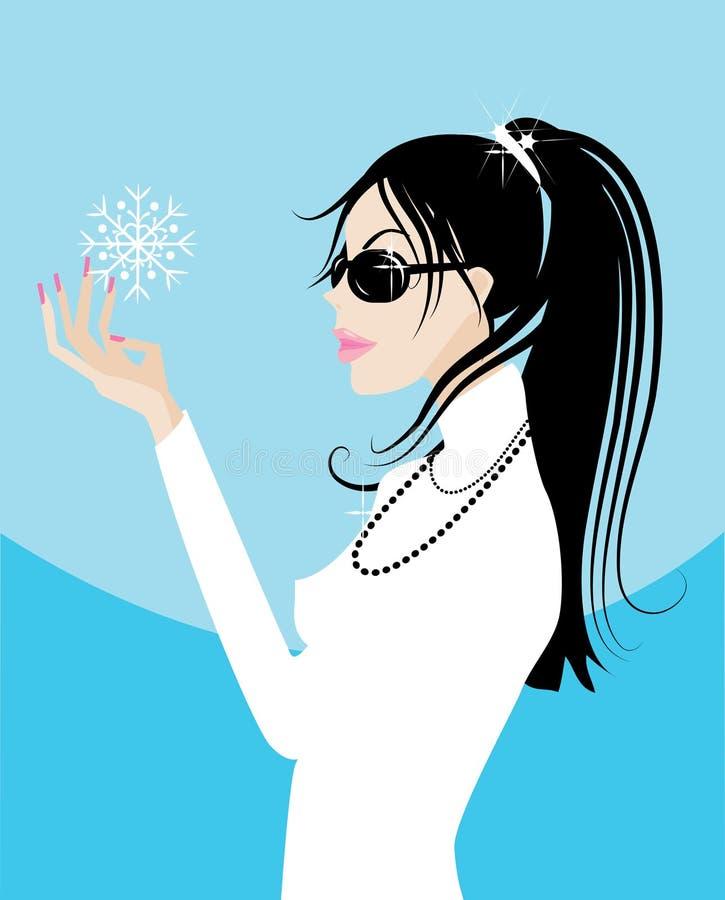 Ragazza con un fiocco di neve royalty illustrazione gratis