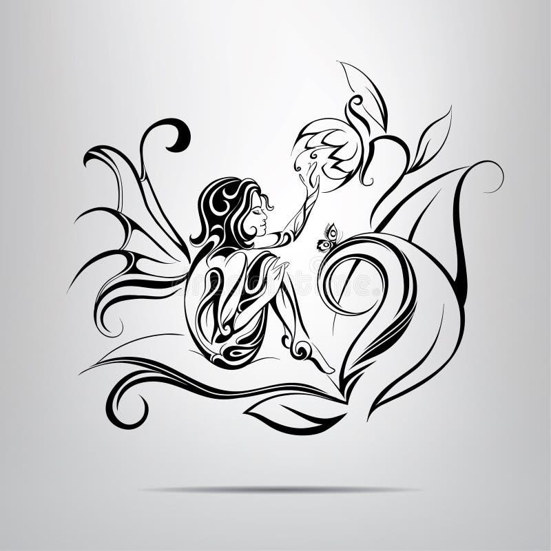 Ragazza con un fiore.  illustrazione royalty illustrazione gratis