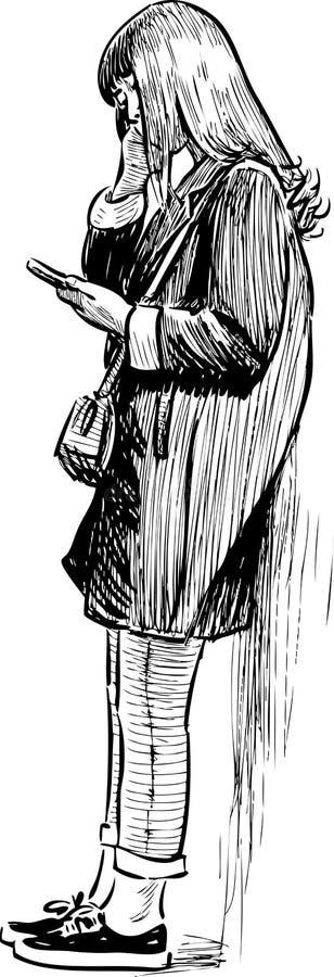 Ragazza con un telefono cellulare illustrazione di stock