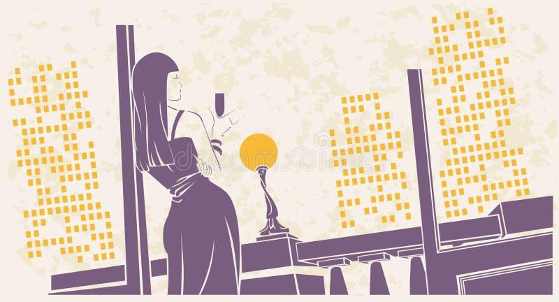 Ragazza con un vetro di vino sul terrazzo illustrazione vettoriale