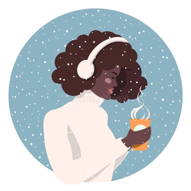Ragazza con una tazza di caffè royalty illustrazione gratis