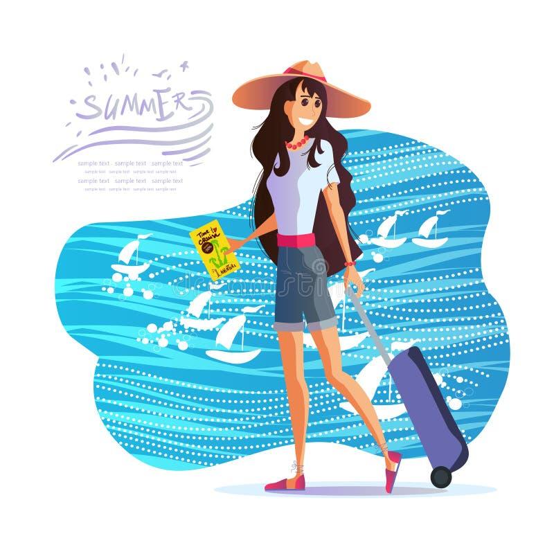 Ragazza con una valigia nei viaggi intorno al mondo, vettore ENV 10 di un cappello illustrazione vettoriale