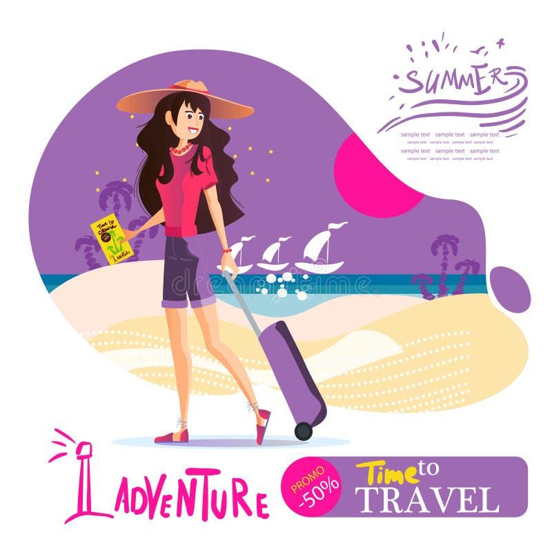 Ragazza con una valigia nei viaggi intorno al mondo, vettore ENV 10 di un cappello illustrazione di stock