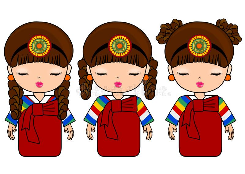 Ragazza coreana in costume tradizionale illustrazione di stock