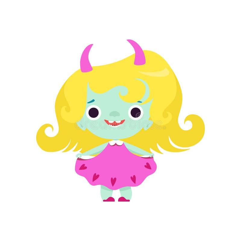 Ragazza cornuta sveglia di Troll, carattere sorridente adorabile della creatura di fantasia con l'illustrazione gialla di vettore illustrazione di stock