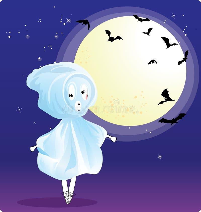 Ragazza in costume del fantasma illustrazione vettoriale