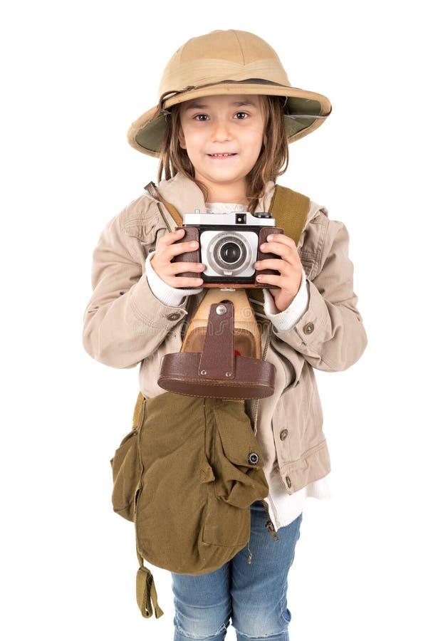 Ragazza in costume di safari immagini stock libere da diritti