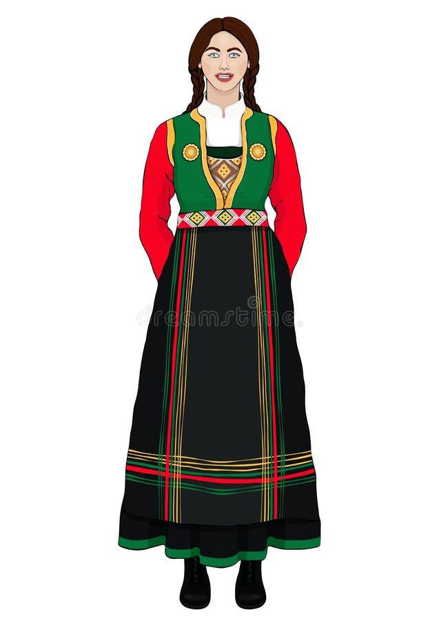 Ragazza in costume nazionale italiano che sta facciata frontale, ritratto del fumetto del disegno di vettore Una donna castana in royalty illustrazione gratis