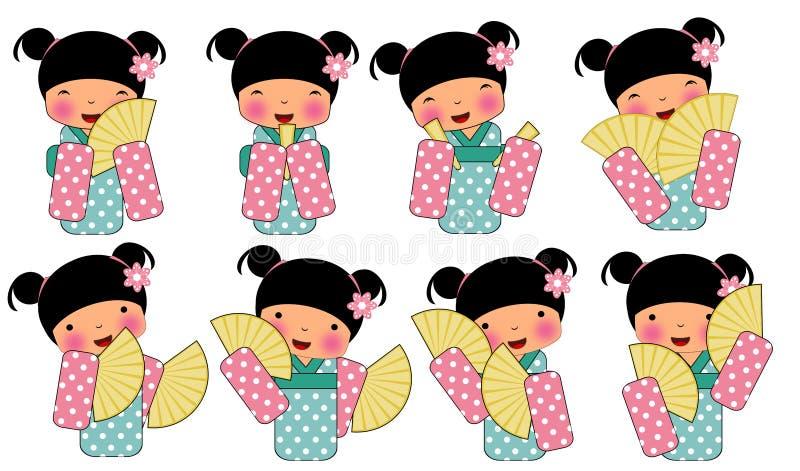 Ragazza in costume tradizionale del Giappone illustrazione di stock