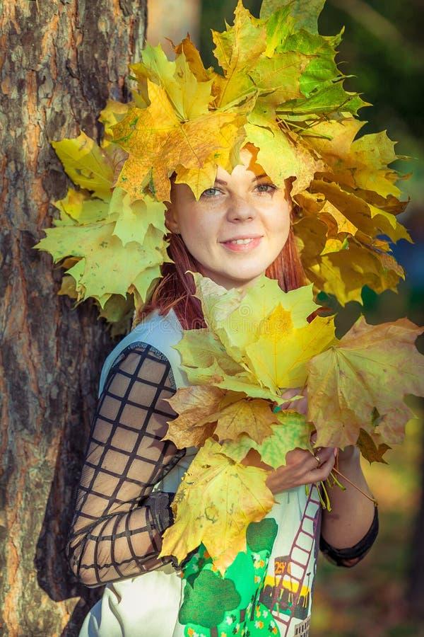 Ragazza dagli occhi verdi con una corona delle foglie gialle su lei capa fotografia stock libera da diritti