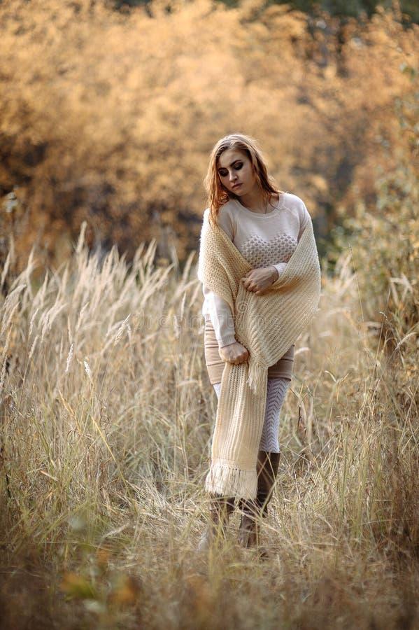 Ragazza dai capelli rossi in vestiti leggeri contro lo sfondo della foresta di autunno e delle orecchie gialle fotografie stock