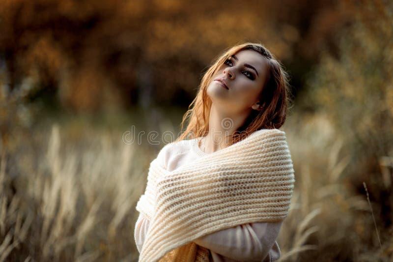 Ragazza dai capelli rossi in vestiti leggeri contro lo sfondo della foresta di autunno e delle orecchie gialle immagine stock libera da diritti