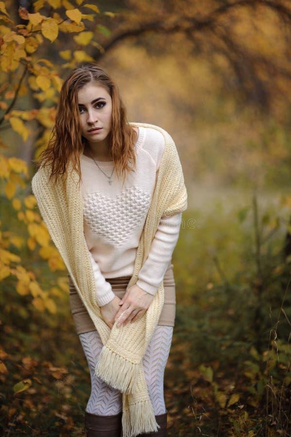 Ragazza dai capelli rossi in vestiti luminosi su un fondo della foresta di autunno fotografia stock libera da diritti