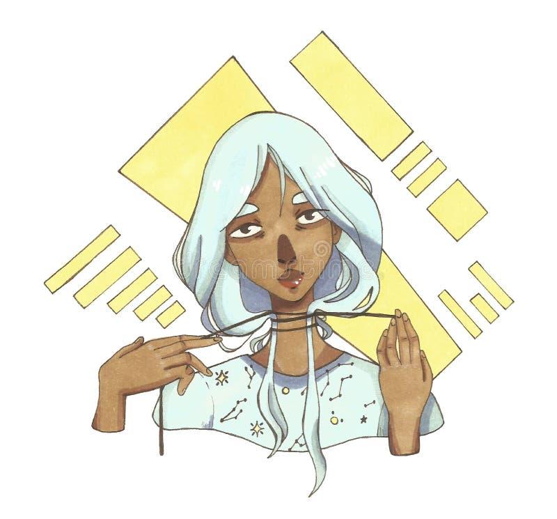 Ragazza dalla carnagione scura con capelli blu su un fondo astratto royalty illustrazione gratis