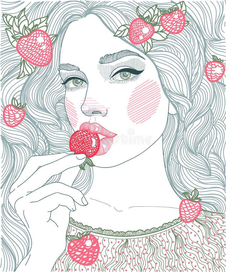 ragazza dei grafici dell'illustrazione che mangia le fragole illustrazione vettoriale