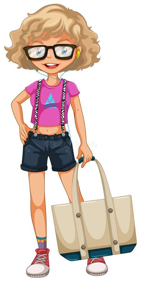Ragazza dei pantaloni a vita bassa illustrazione di stock