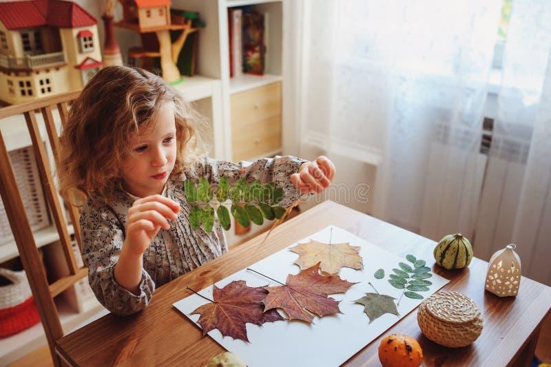 Ragazza del bambino che fa erbario a casa, mestieri stagionali di autunno immagini stock libere da diritti