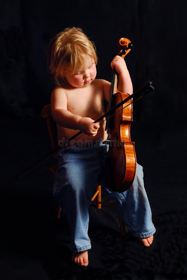 Ragazza Del Bambino Con Il Violino Fotografia Stock