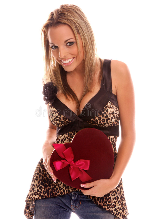 Ragazza del biglietto di S. Valentino fotografia stock
